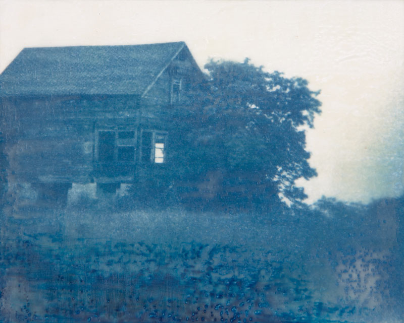 "Alone | Cyanotype, encaustic (8"" x 10"")"