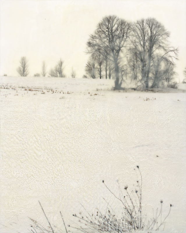 "Winter Solstice II | Digital print, encaustic (24"" x 18"")"